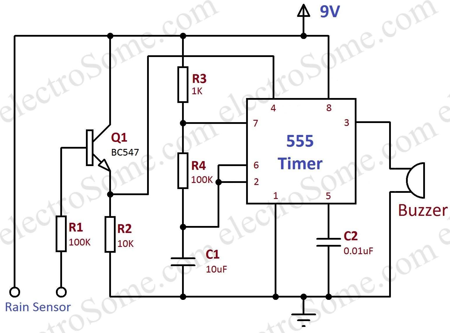 Rain Alarm using 555 Timer Circuit Diagram
