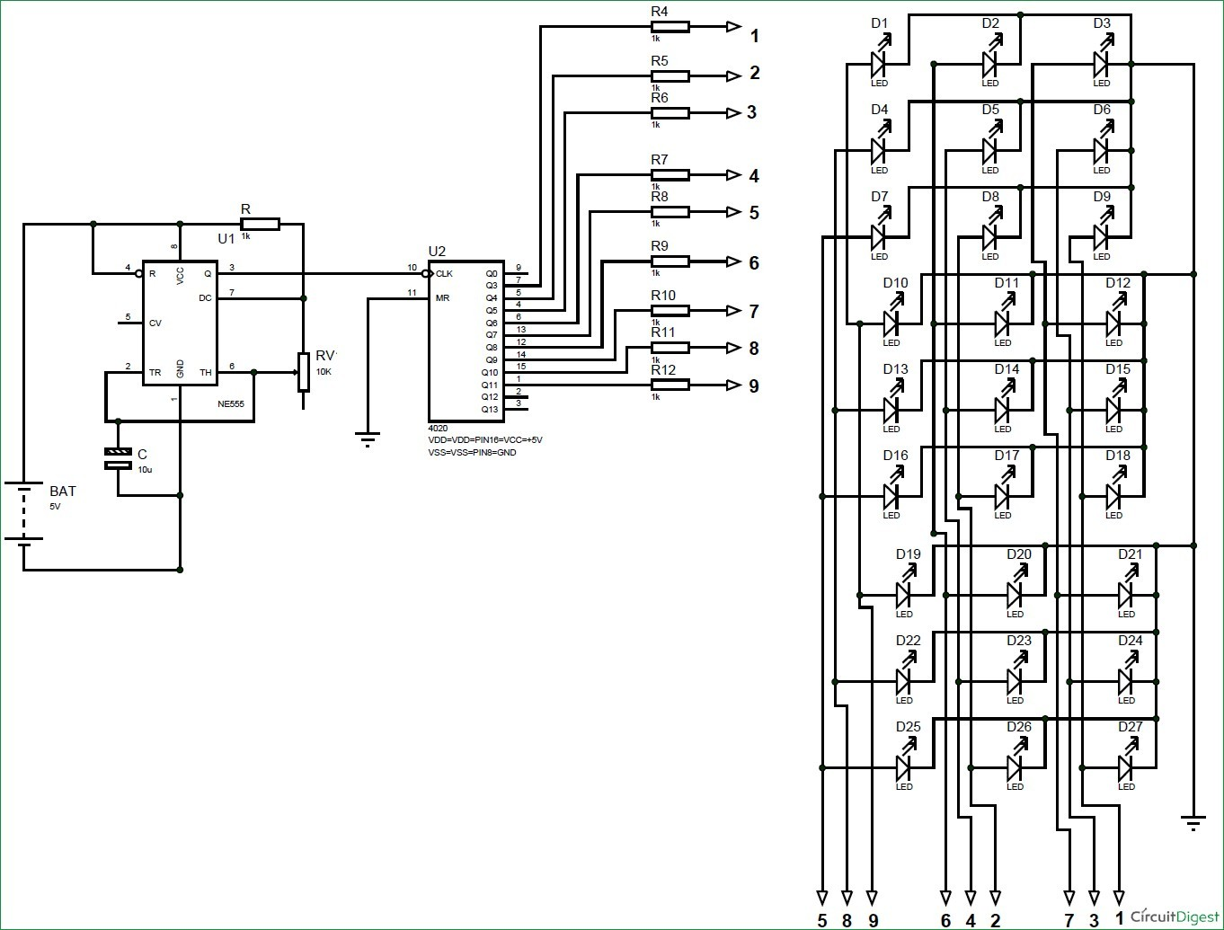 3X3X3 LED Cube Circuit Diagram using 555 Timer and CD4020 IC