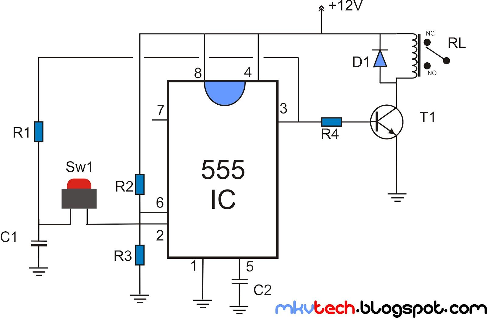 latching relay using 555 ic