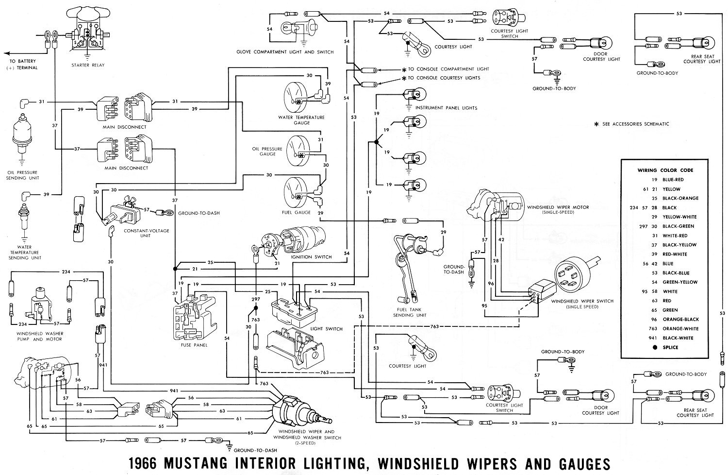 Wiring Diagram 1966 Ford Mustang Interior Lighting Windshield Noticeable 65