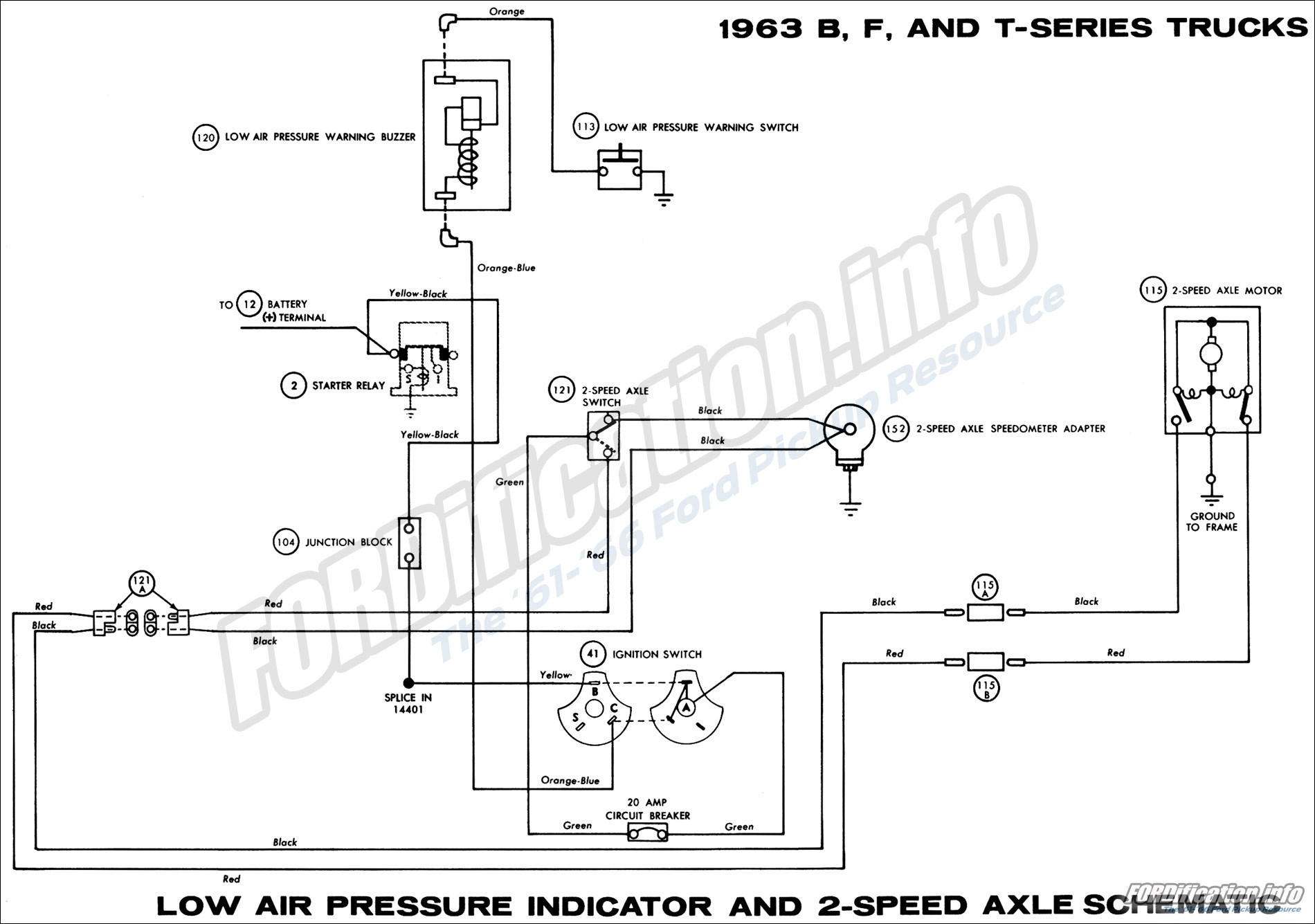 1963 B F and T series Trucks Low Air Pressure Indicator and 2 Speed Axle Schematic