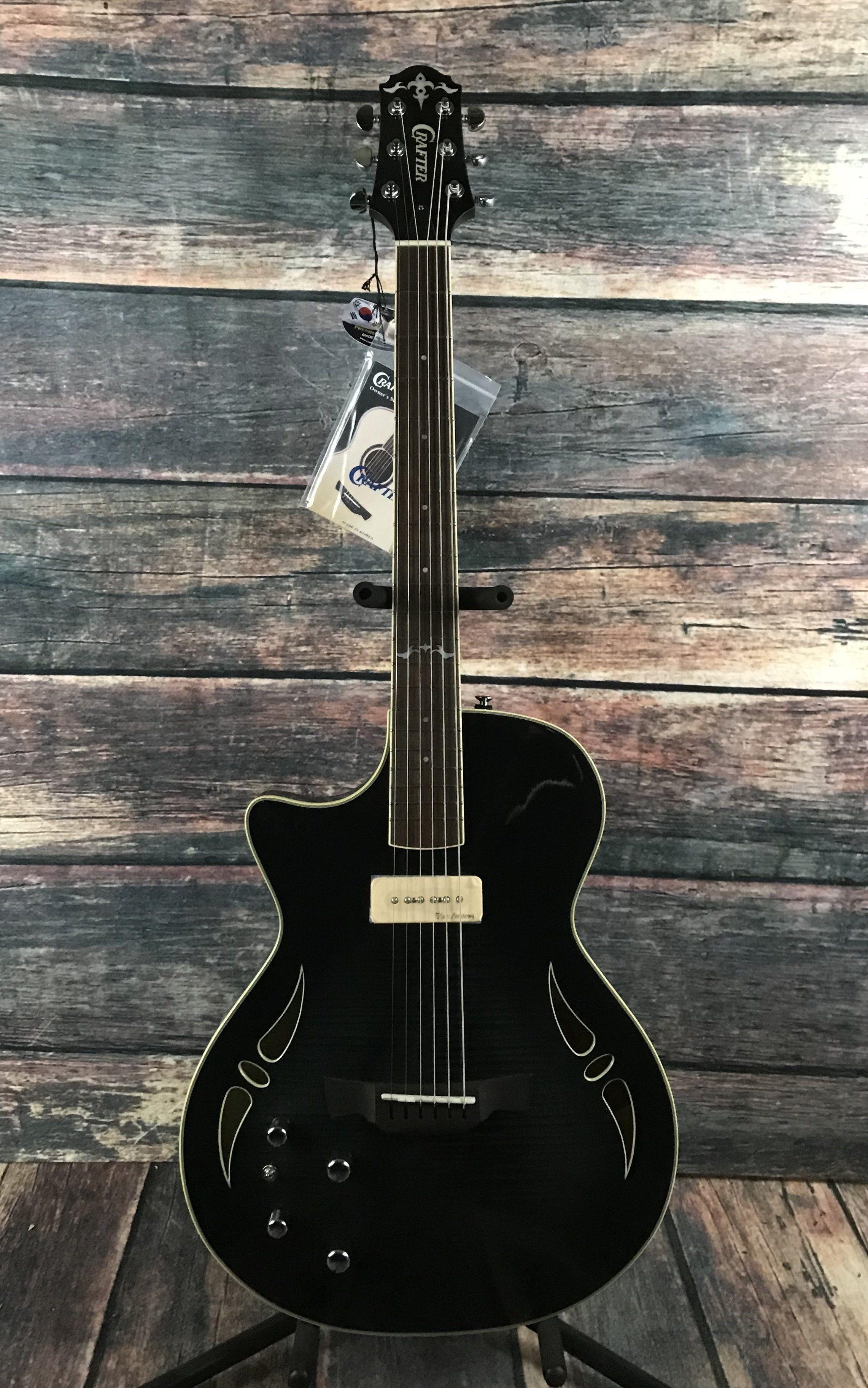 Crafter Left Handed SAT Hybrid Electric Acoustic Guitar Trans Black