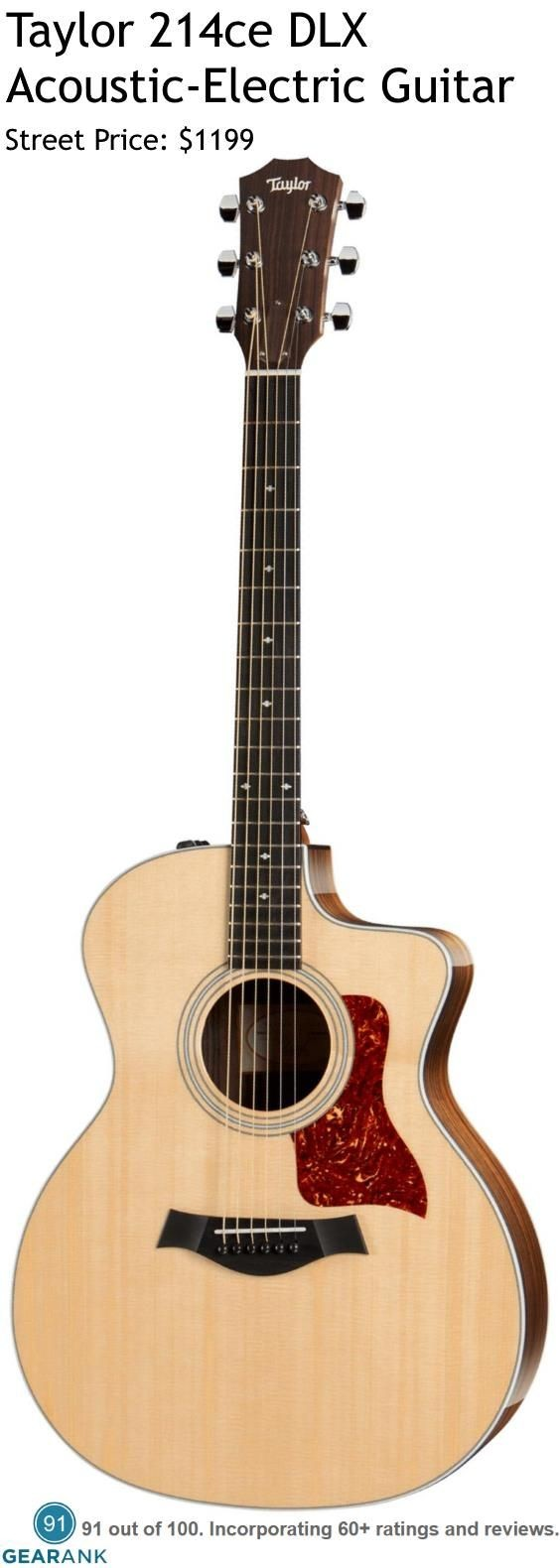 Taylor 214ce DLX Acoustic Electric Guitar It has a solid Sitka spruce top along