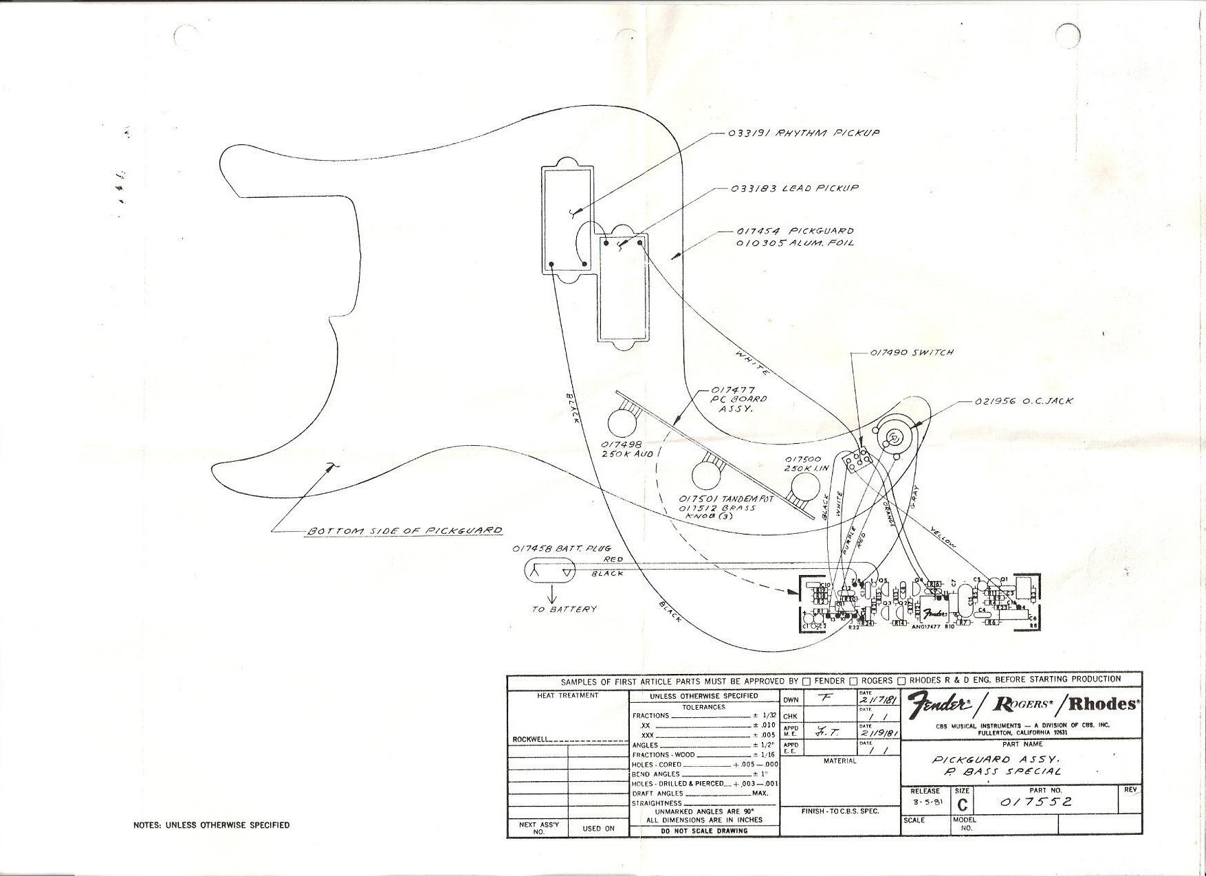 Wiring Diagram Bass Pickups New Fender Bass Wiring Diagrams With P Special Pgassy1981 Diagram And