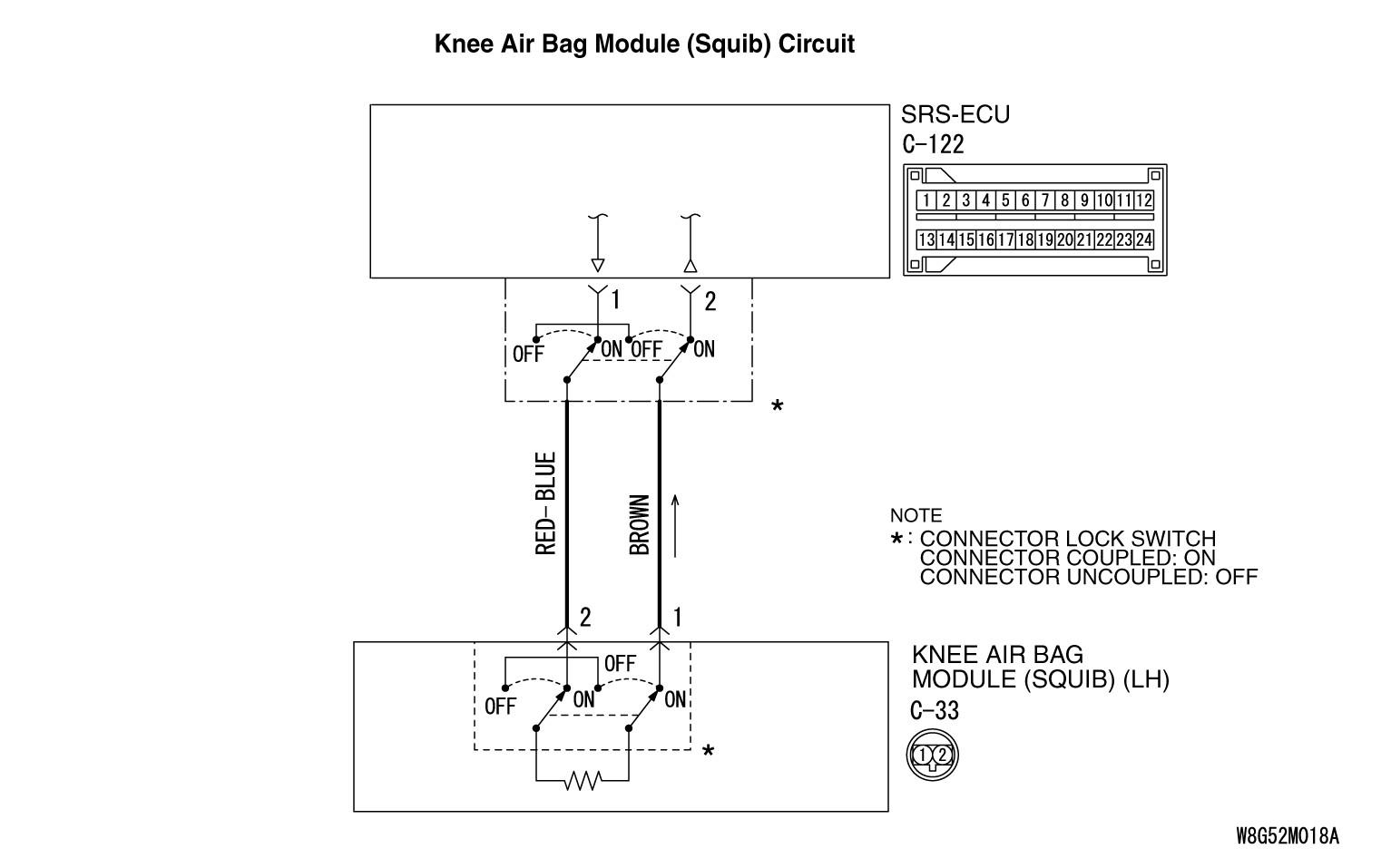 DTC B1B13 Driver s Knee Air Bag Squib System Short Circuit Between Squib Circuit Terminals