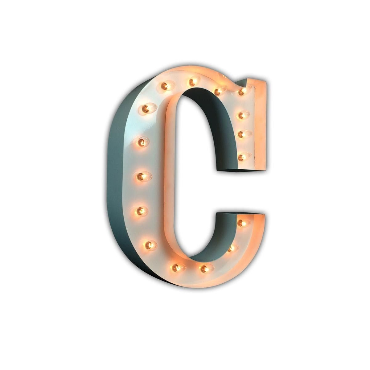 "24"" Letter C Lighted Marquee Letters White Gloss"