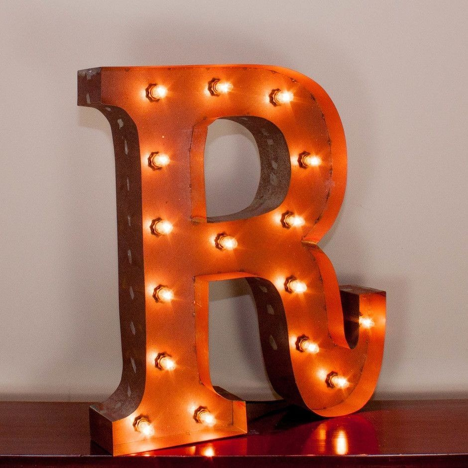 "24"" Letter R Lighted Vintage Marquee Letters with Screw on Sockets"