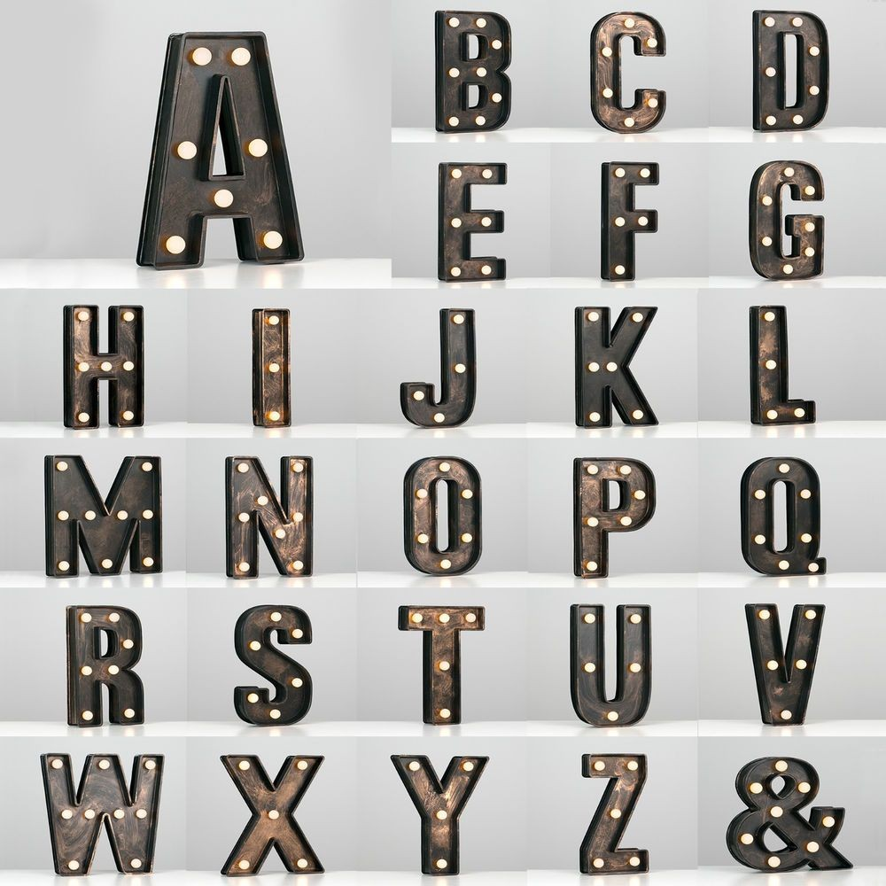 A Z Vintage Style Bronze Battery Operated LED Carousel Marquee Letters Lights