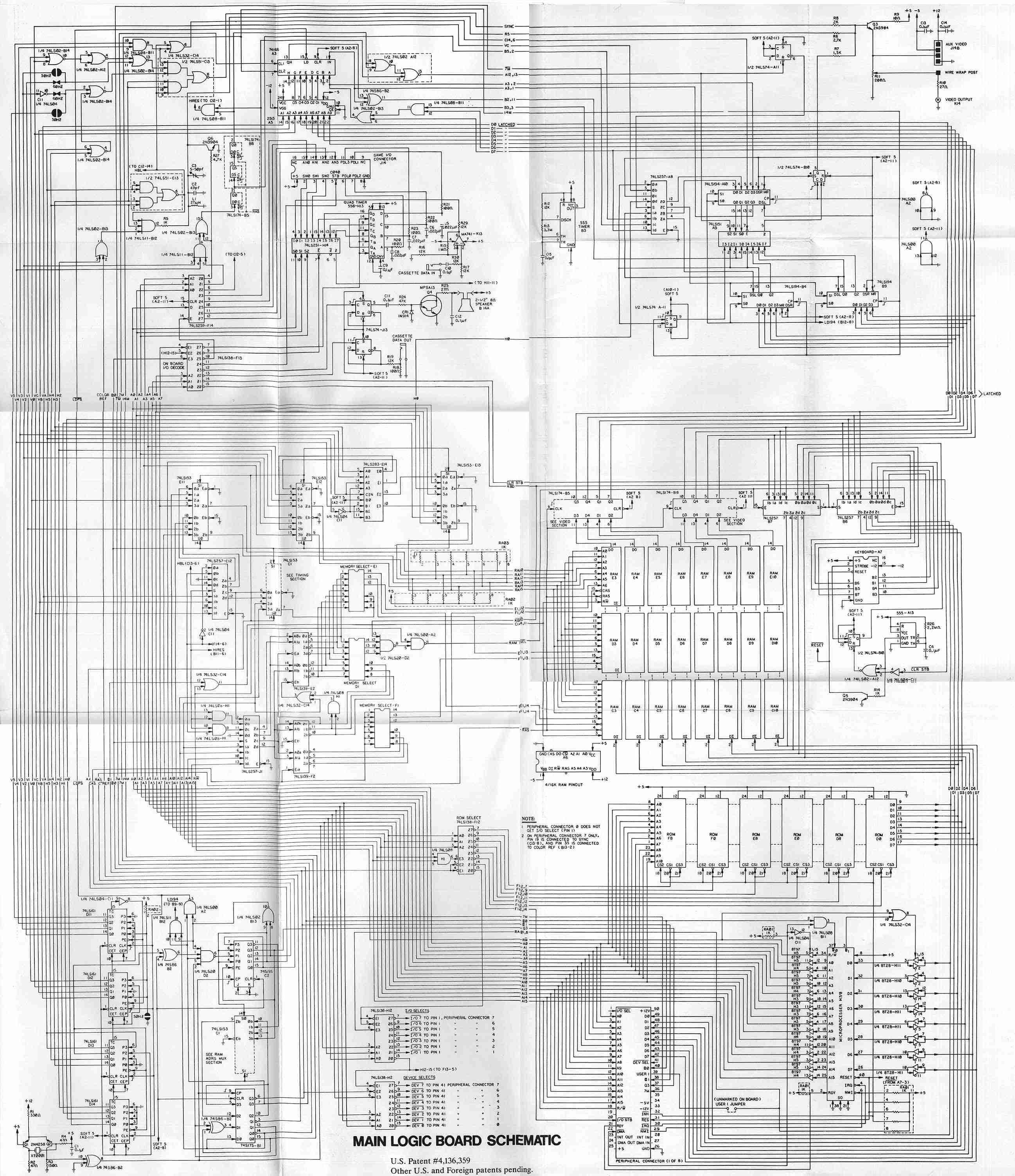 Apple 2 Main Logic Board Electronic Circuit Schematic