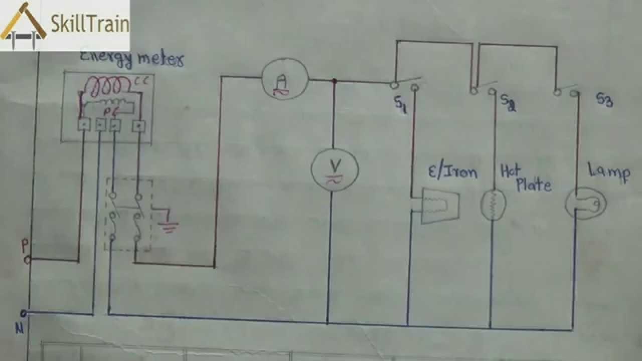 Diagammatic Representation of Simple House Wiring Hindi हिन्दी