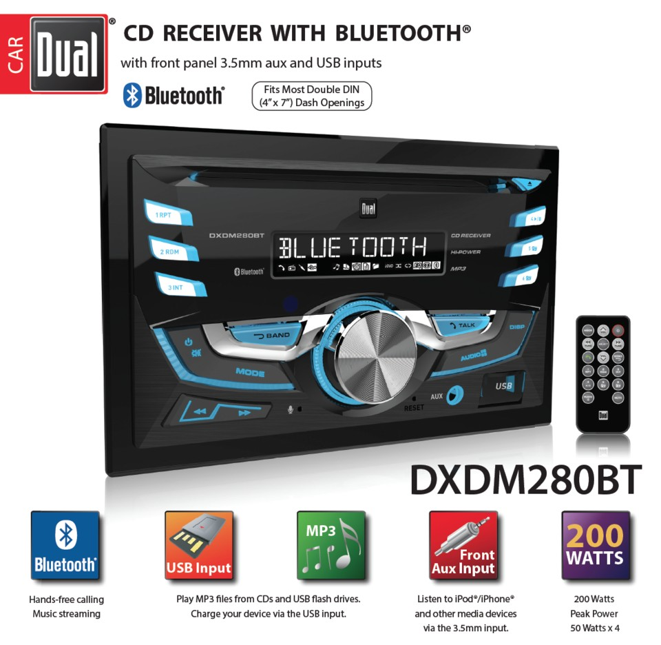 • Dual Electronics DXDM280BT Multimedia LCD High Resolution Double DIN Car Stereo Receiver with Built In Bluetooth CD USB MP3 & WMA Player Walmart
