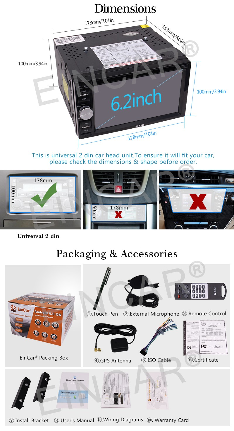 Upgrade Version WiFi Model Android 6 0 Autoradio Double Din Car DVD Player 6 2 inch 1080P Capacitive