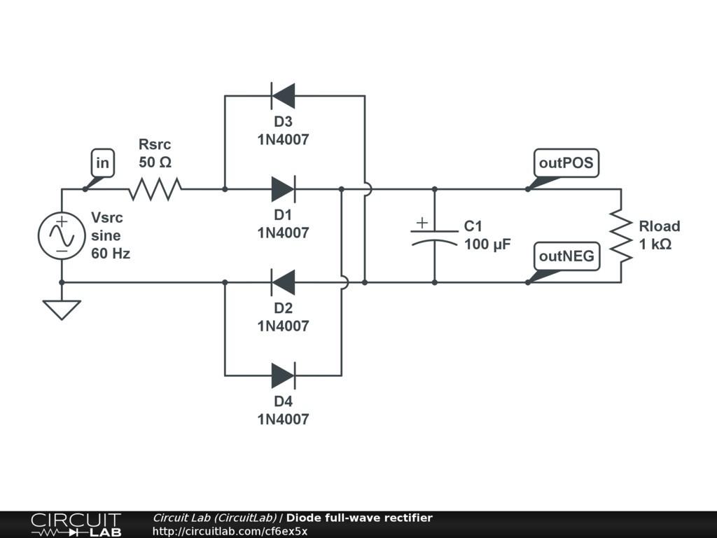 Bridge Rectifier Circuit Diagram Wiring Image Full Wave Rectification Circuitlab Public Circuits Tagged