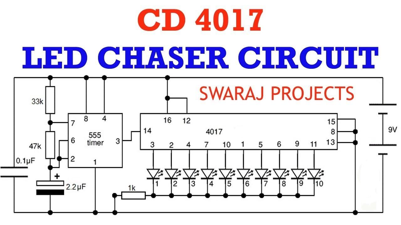 How to make led chaser circuit running light