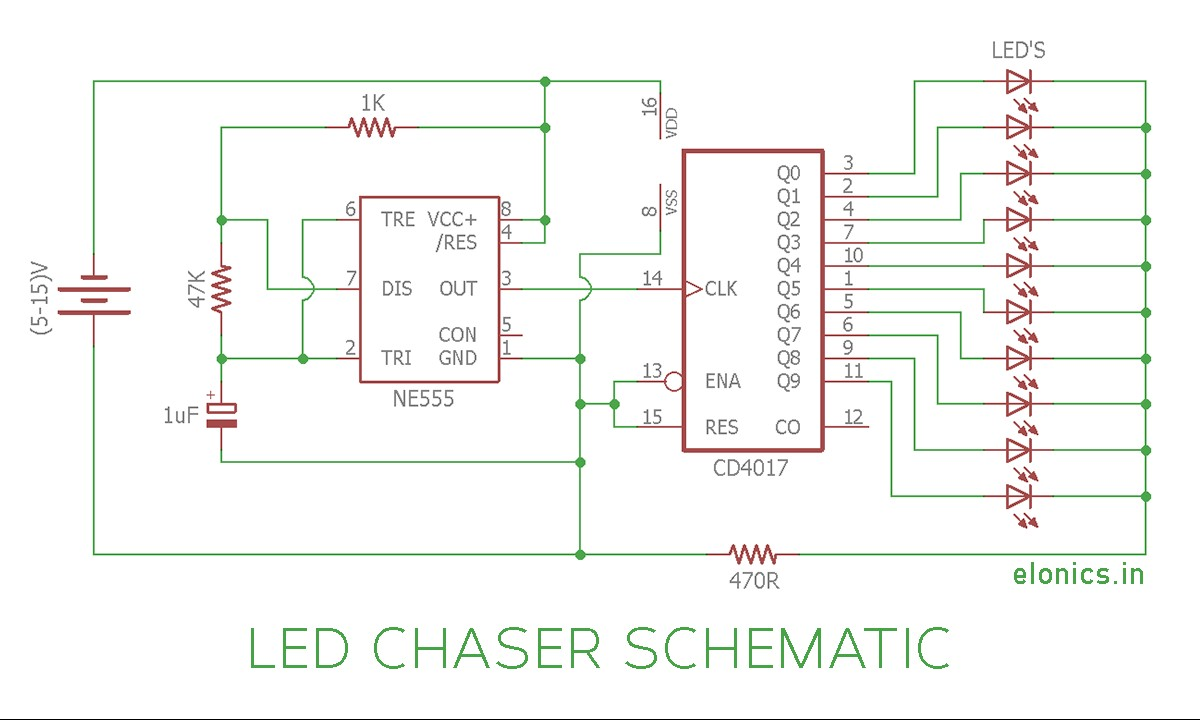 LED Chaser Lights Circuit Diagram