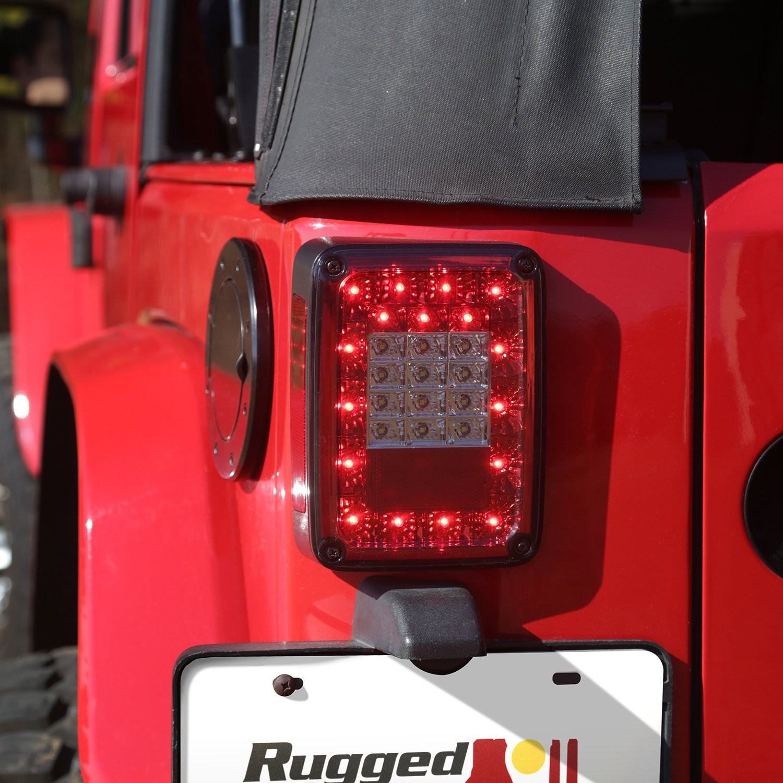 Rugged Ridge 88 LED Tail Light Kit in Smoked for 07 18 Jeep Wrangler JK