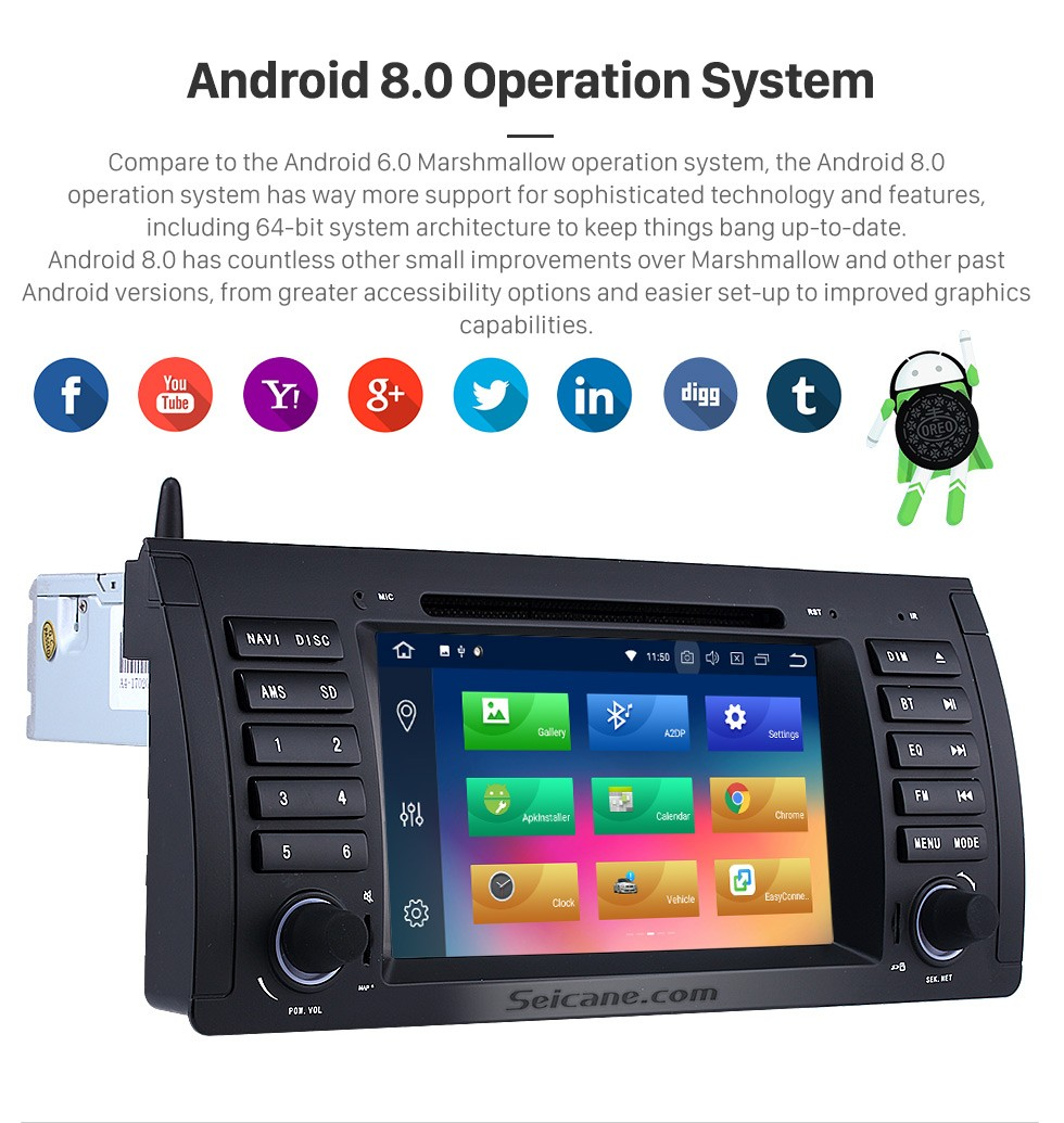 Seicane Android 8 0 Car DVD player for BMW X5 E53 with GPS Radio TV Bluetooth
