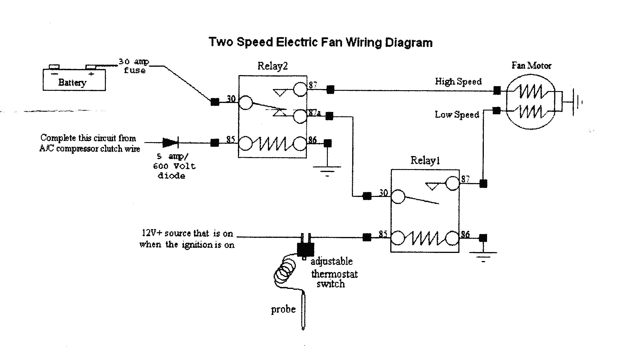 Electric Fan Wiring Diagram For
