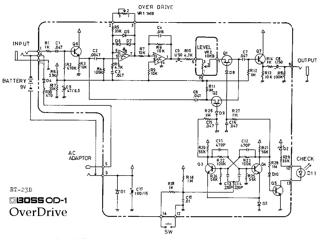 wiring diagram for a unique boss od 1 overdrive guitar pedal rh originalstylophone