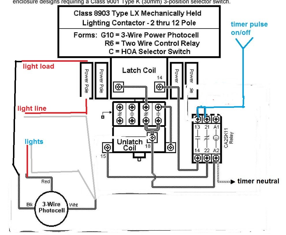 Wiring Diagram Lighting Contactor With cell At