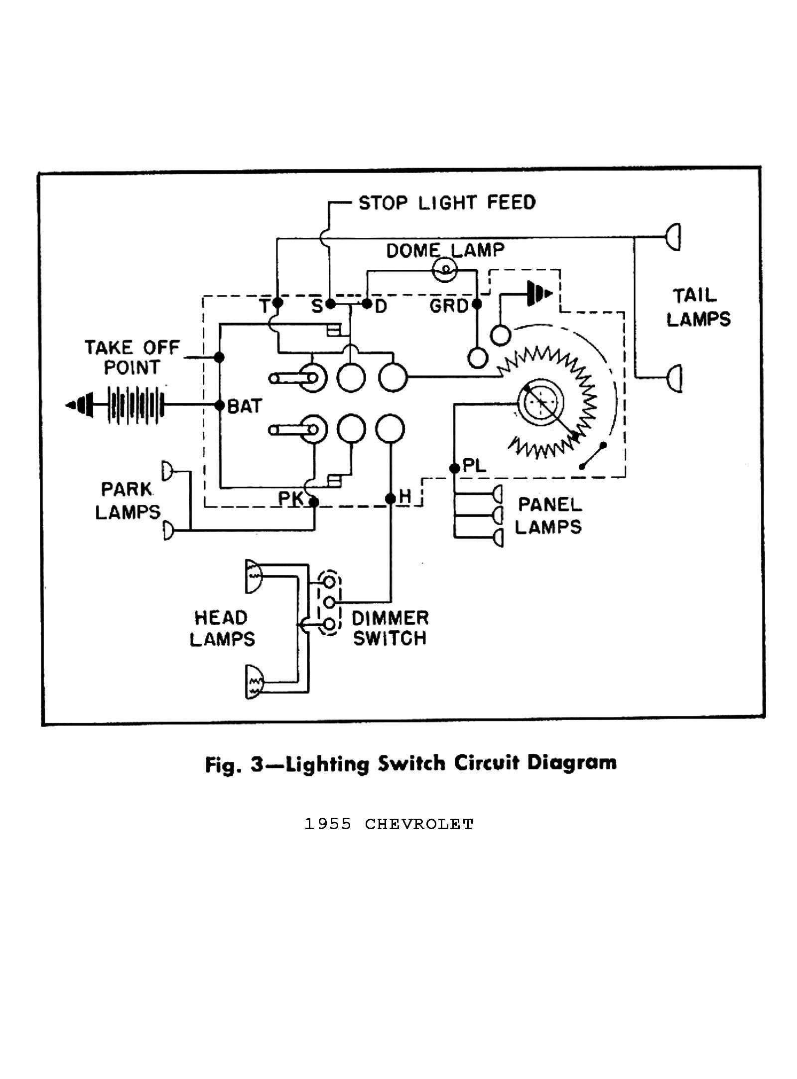 1955 Truck Wiring Diagrams · 1955 Electric Windows & Seats · 1955 Lighting Switch Circuit
