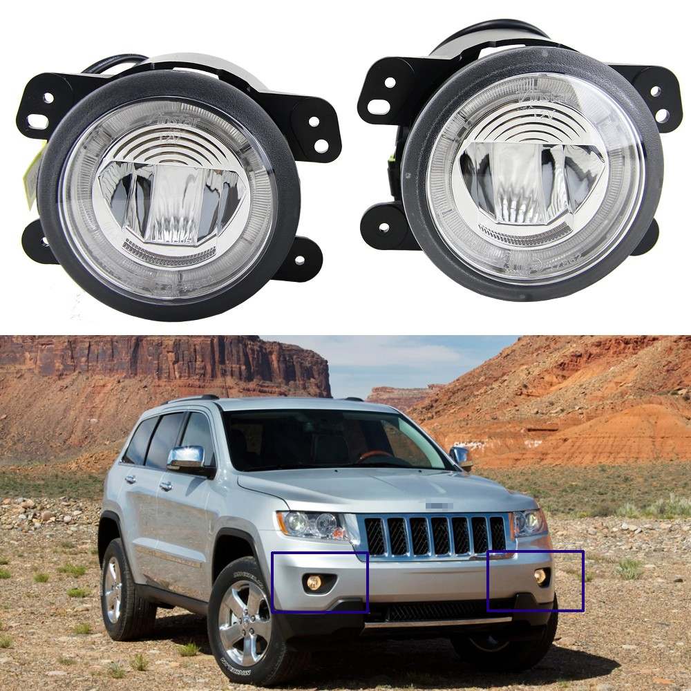 impermeable LED niebla luz faro con halo DRL lámpara para jeep grand cherokee 2011