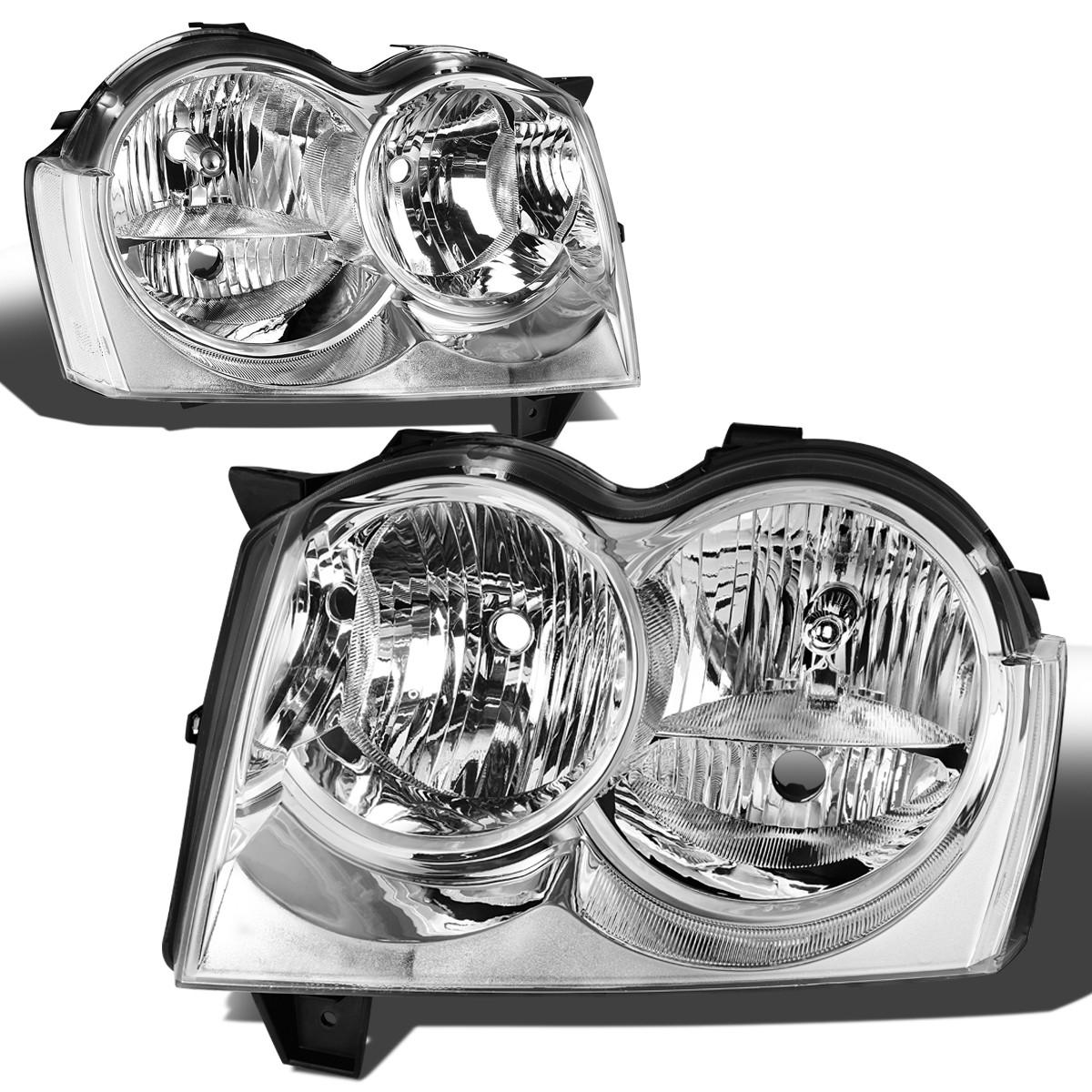 For 2005 2007 Jeep Grand Cherokee WK 3rd Gen Chrome Housing Clear Corner Headlights Lamp
