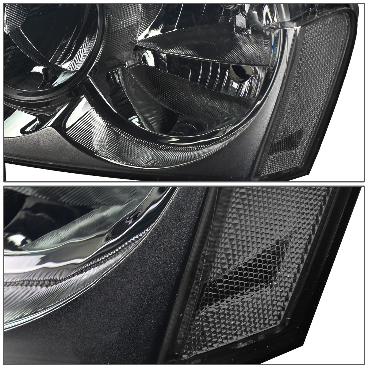 For 05 07 Jeep Grand Cherokee Pair of Headlight Smoked Lens Clear Corner