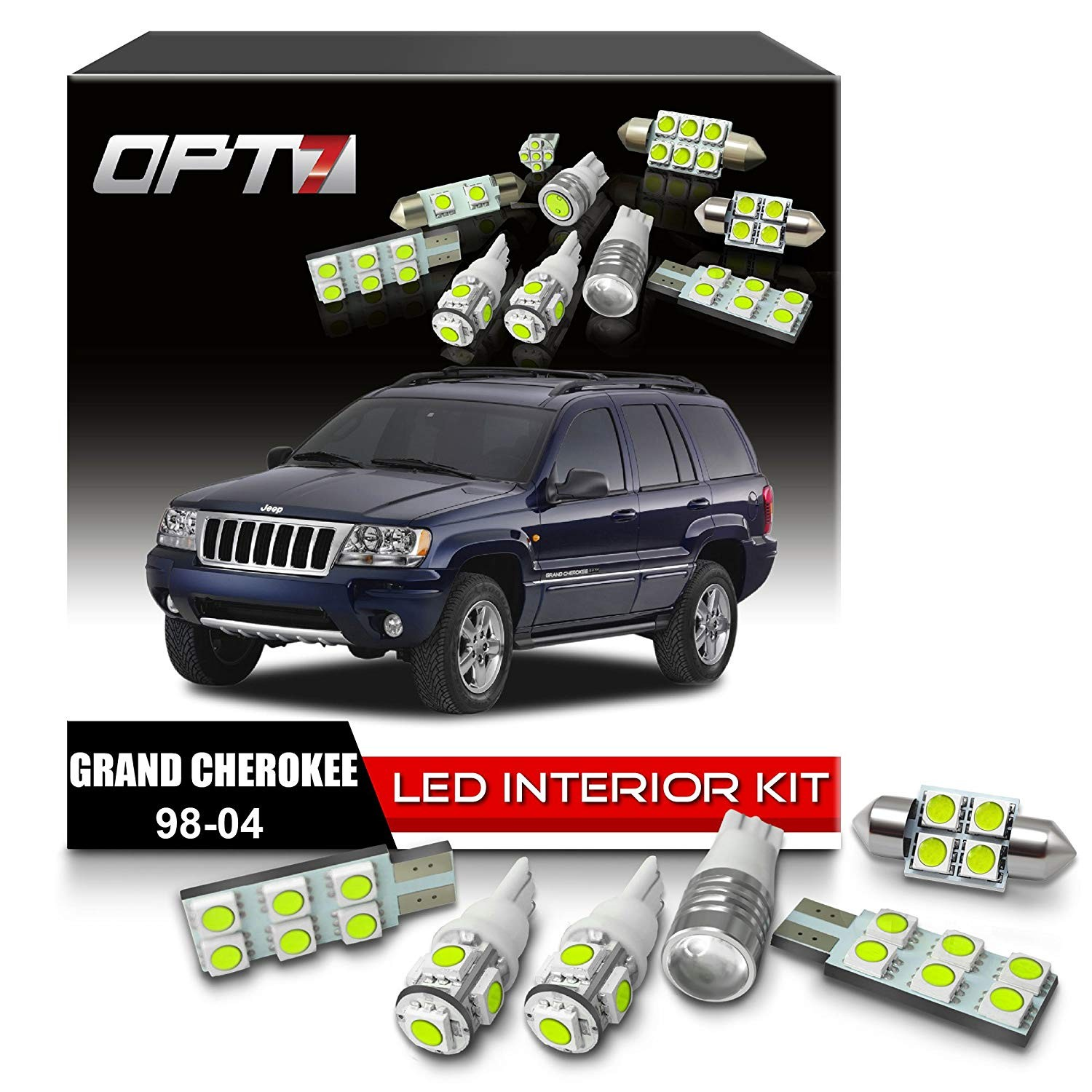 Amazon OPT7 12pc Interior LED Replacement Light Bulbs Package set kit for 98 04 Jeep Grand Cherokee 6000K White
