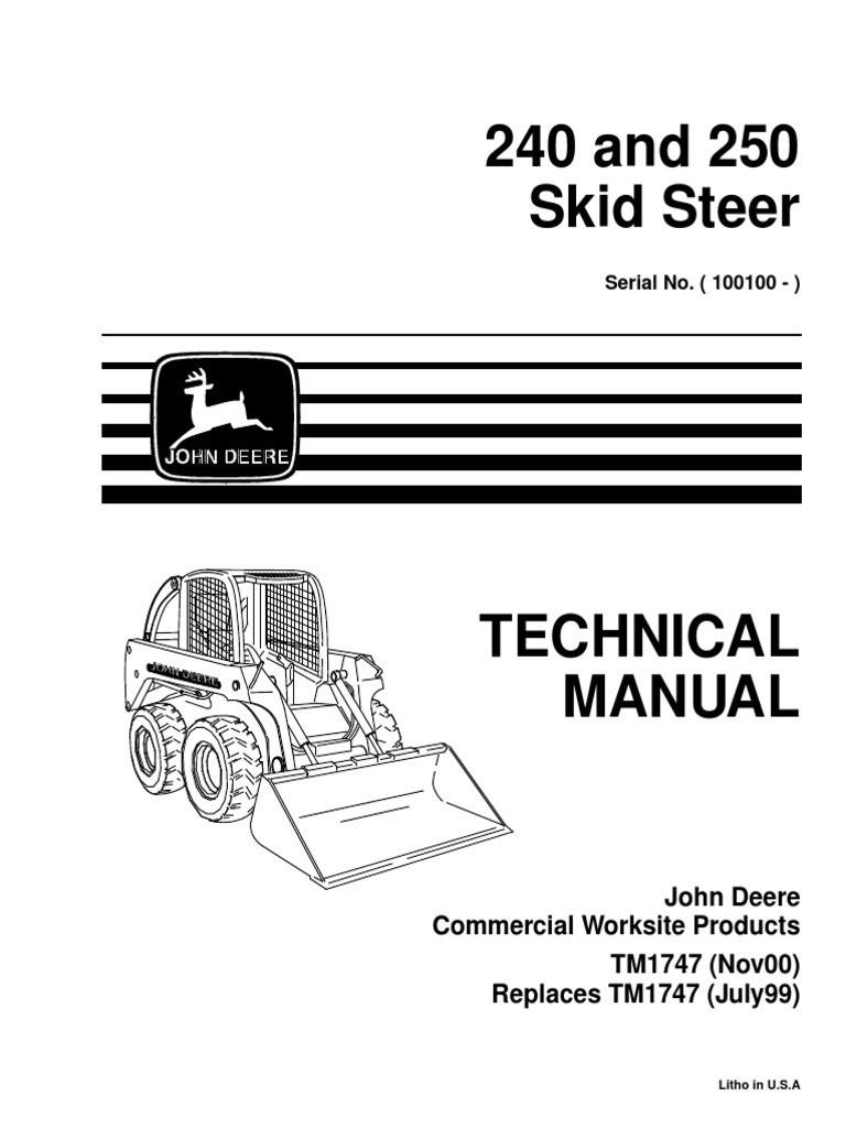 V 1 John Deere 250 Skid Steer Wiring Diagram