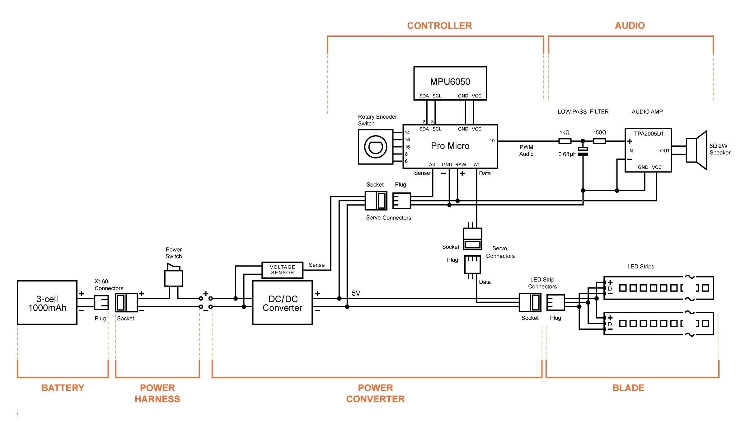 Circuit Diagram LED Saber Schematic