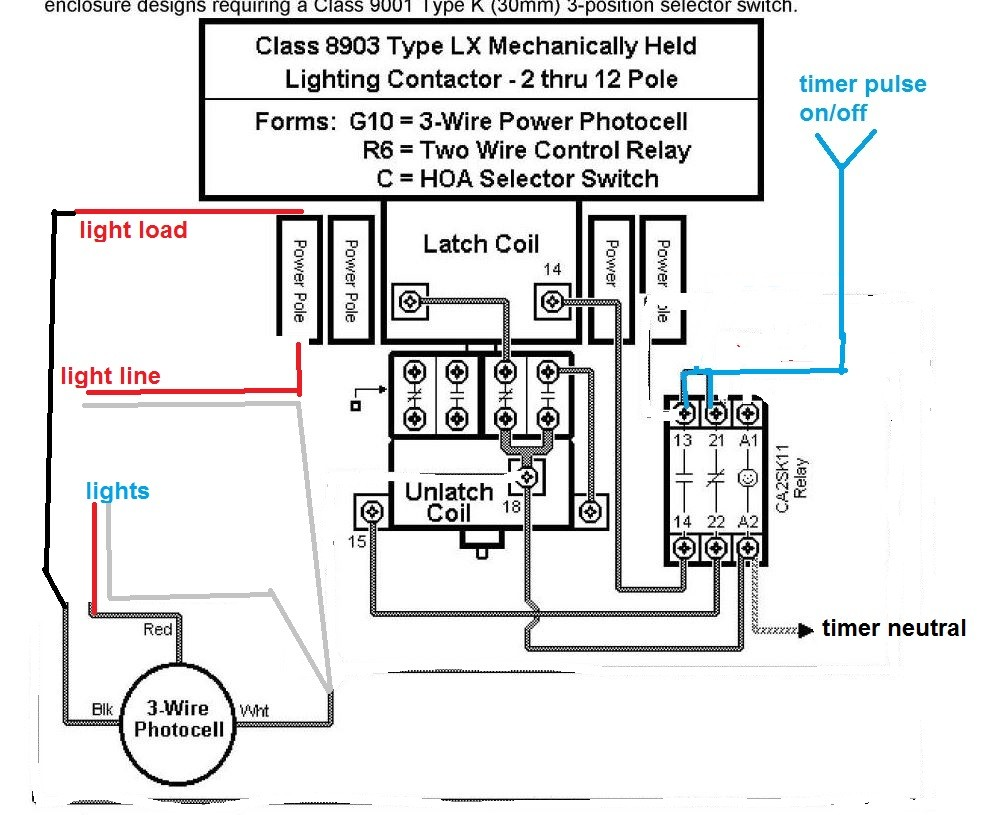 Lighting Contactor Wiring Diagram With cell And