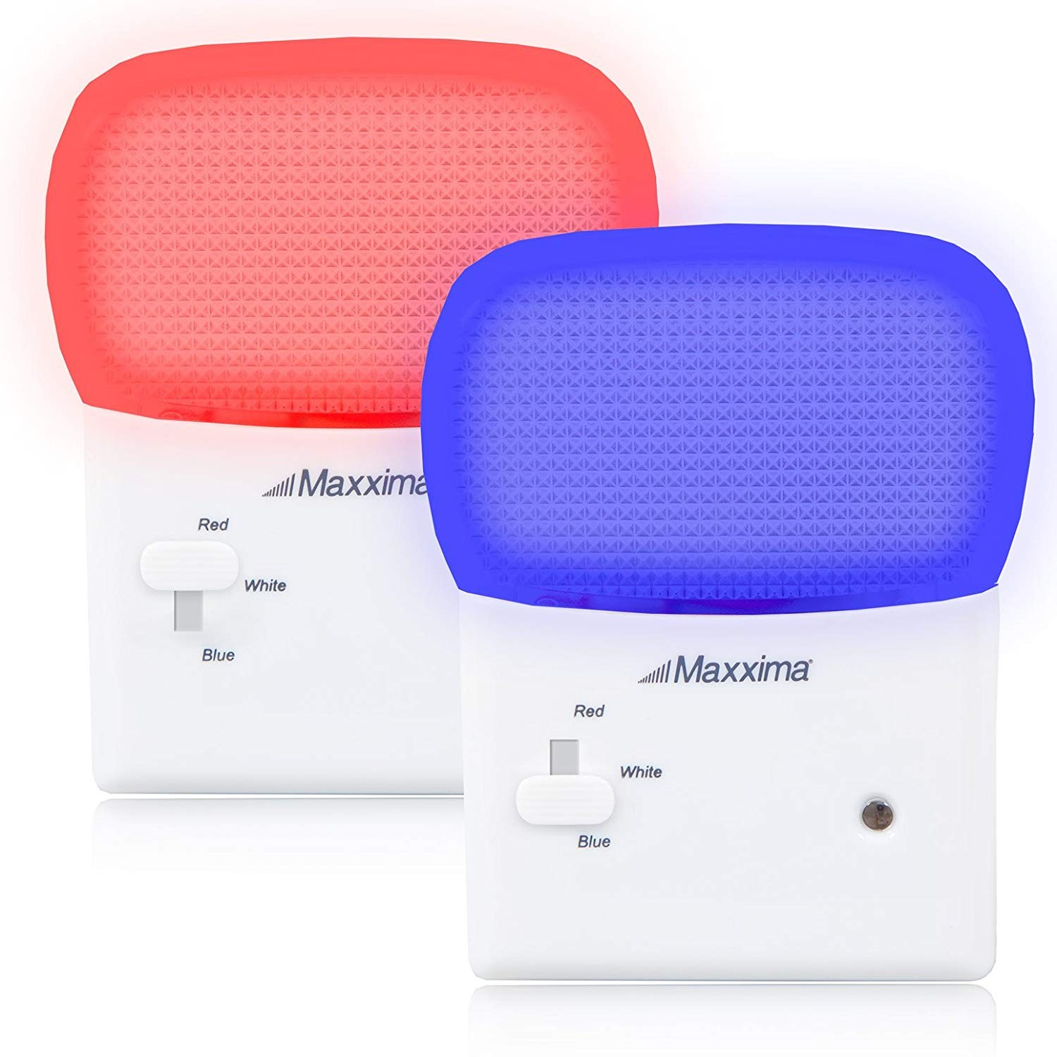 Maxxima LED Multi Color Red White and Blue LED Night Light With Switch and Dusk to Dawn Sensor Choose Between 3 Colors Pack of 2 Amazon