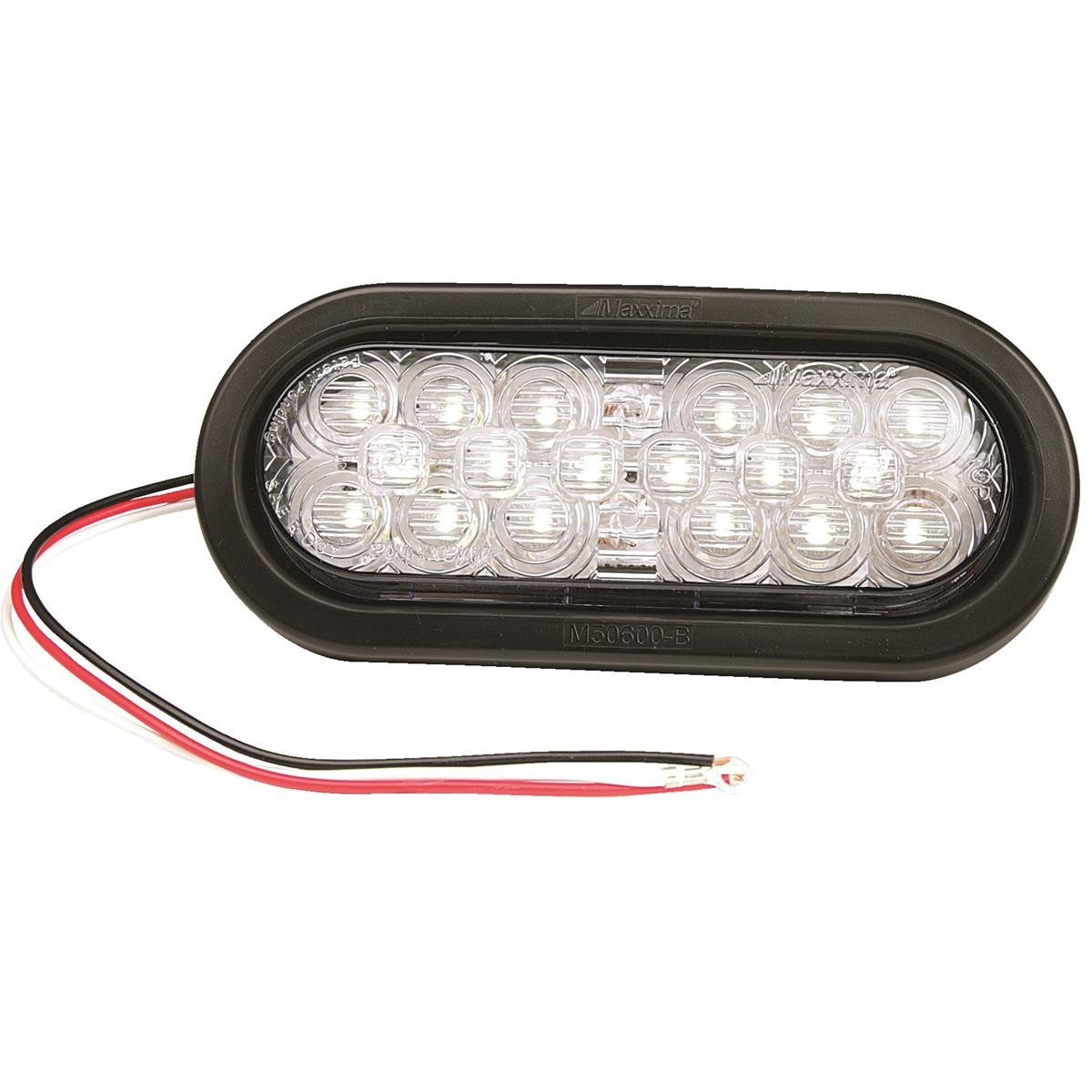 MAXXIMA Oval LED Back Up Light with Rubber Grommet and Pigtail White LEDs