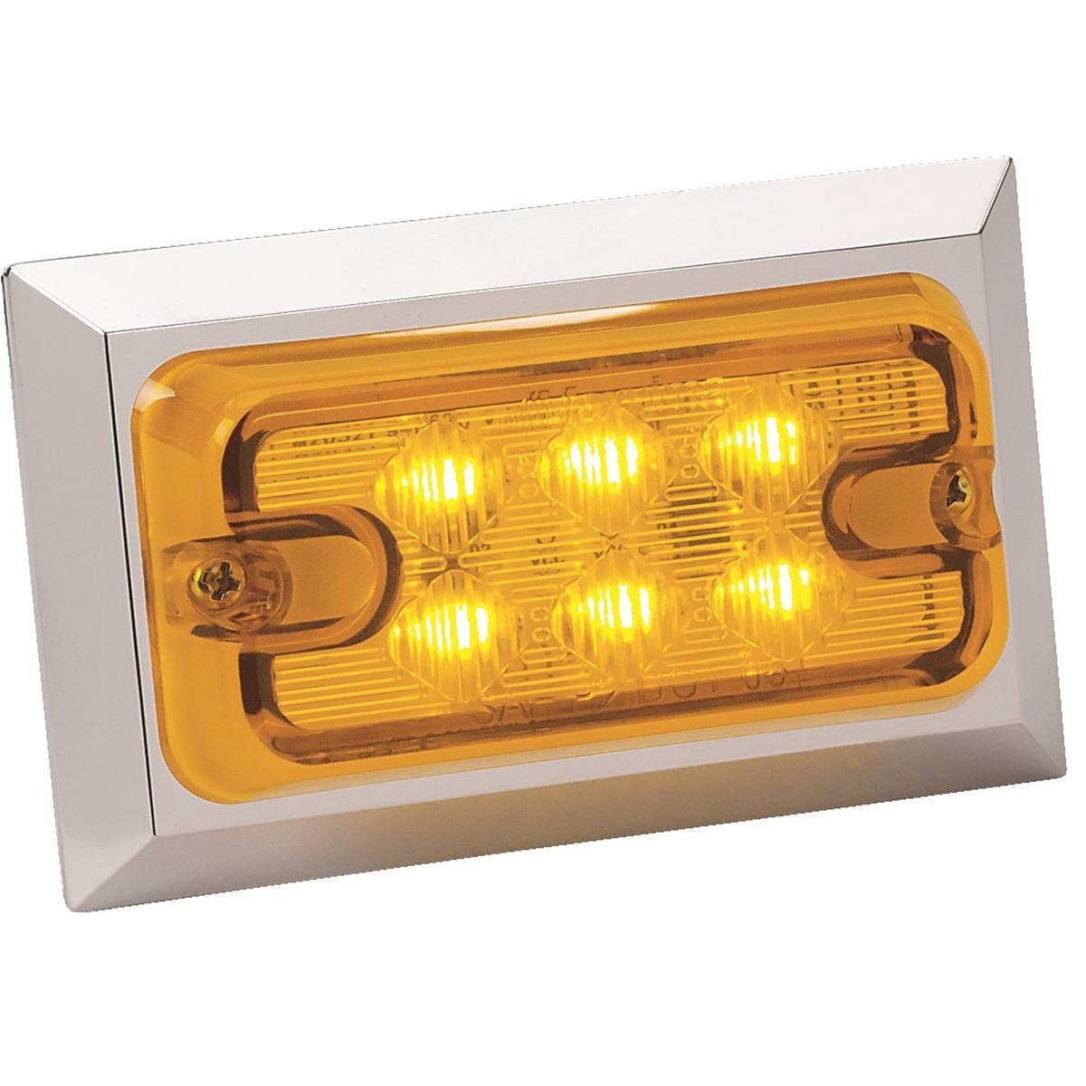 "MAXXIMA Rectangular LED Clearance Marker Light Chrome Trim Amber 3 3 4""L x 2 1 4""H x 1""D"