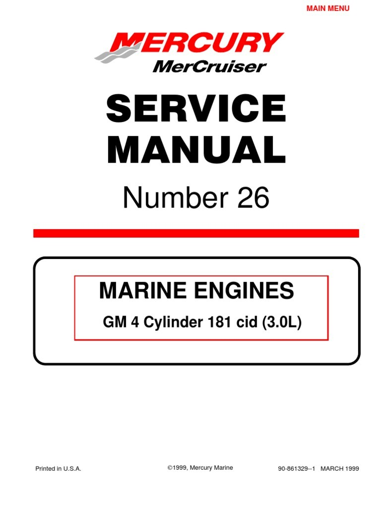 Mercruiser 4 Cyl 3 0 Service Manual Gasoline