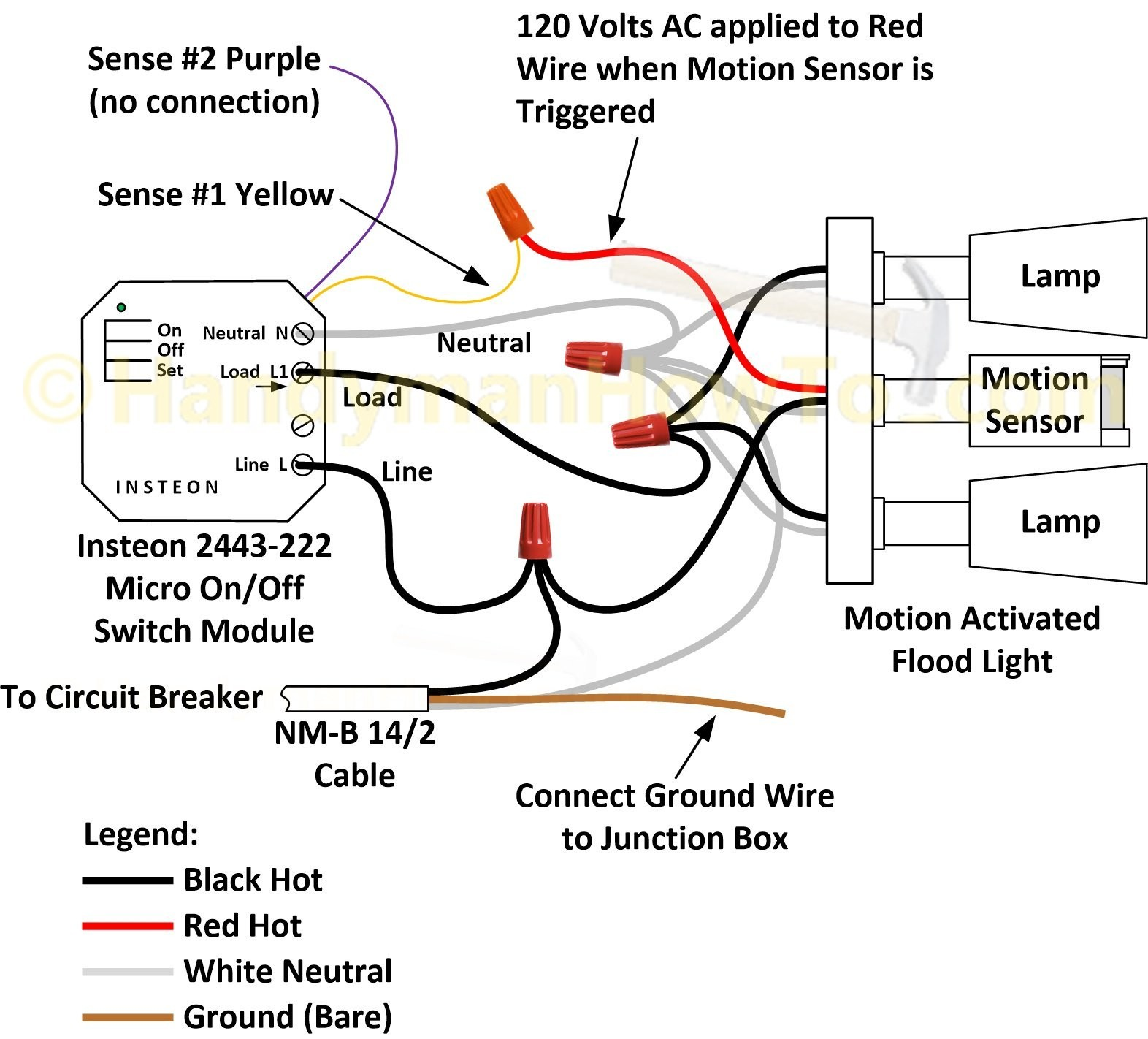 How To Wire An Insteon 2443 222 Micro Switch A Motion Activated wiring diagram motion sensor light