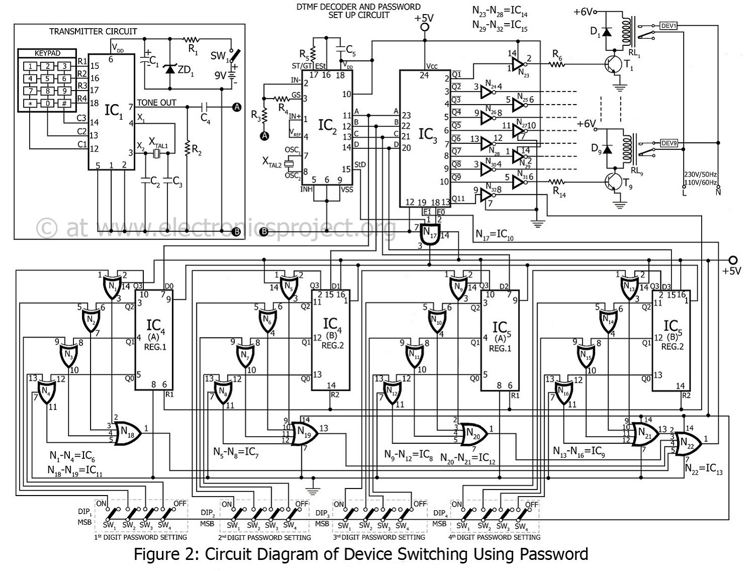 circuit diagram of device switching using password