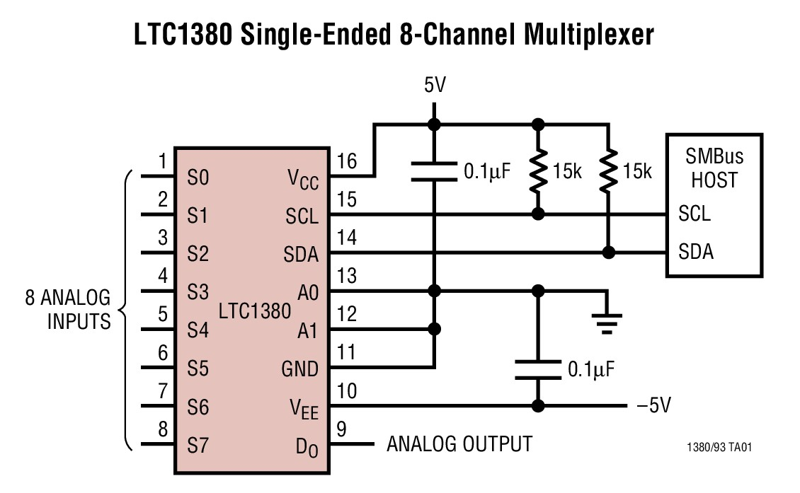 Ltc1393 Single Ended 8 Channel Differential 4 Analog Multiplexer Circuit Diagram 4004 Full Size