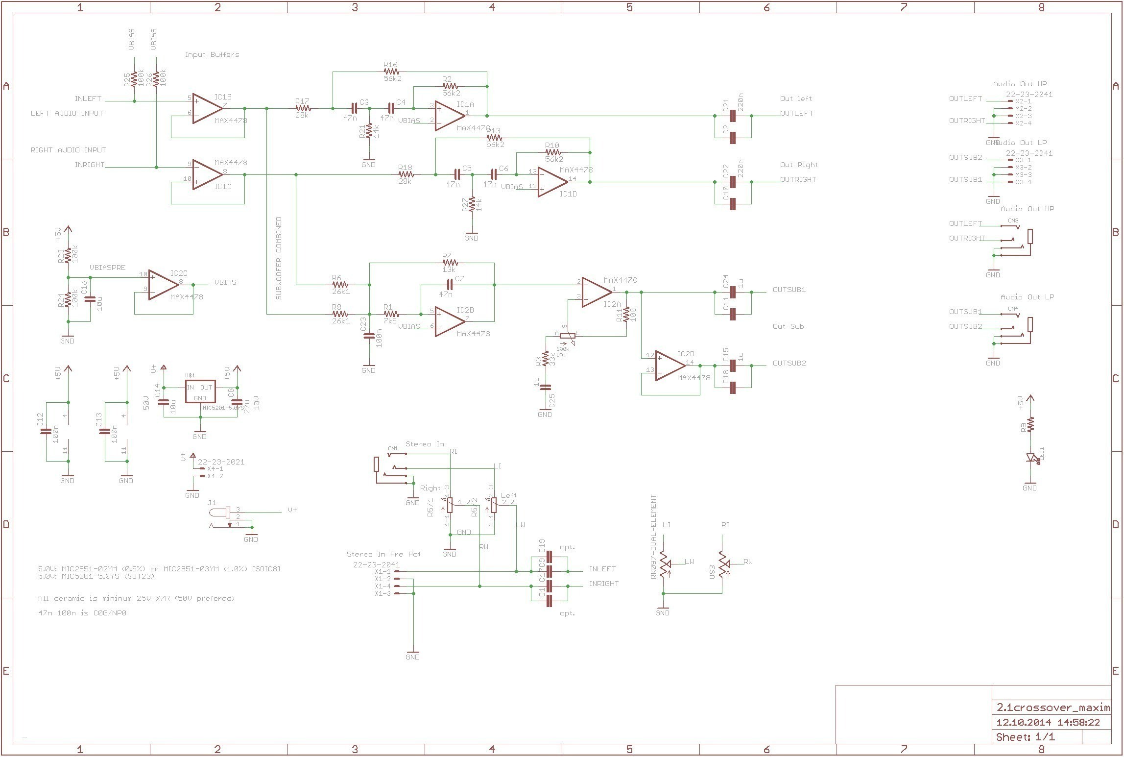 crossover cable diagram Collection Aktive Crossoverfrequenzweiche Mit Max4478 360customs Crossover Schematic Rev 0d wiring lighting