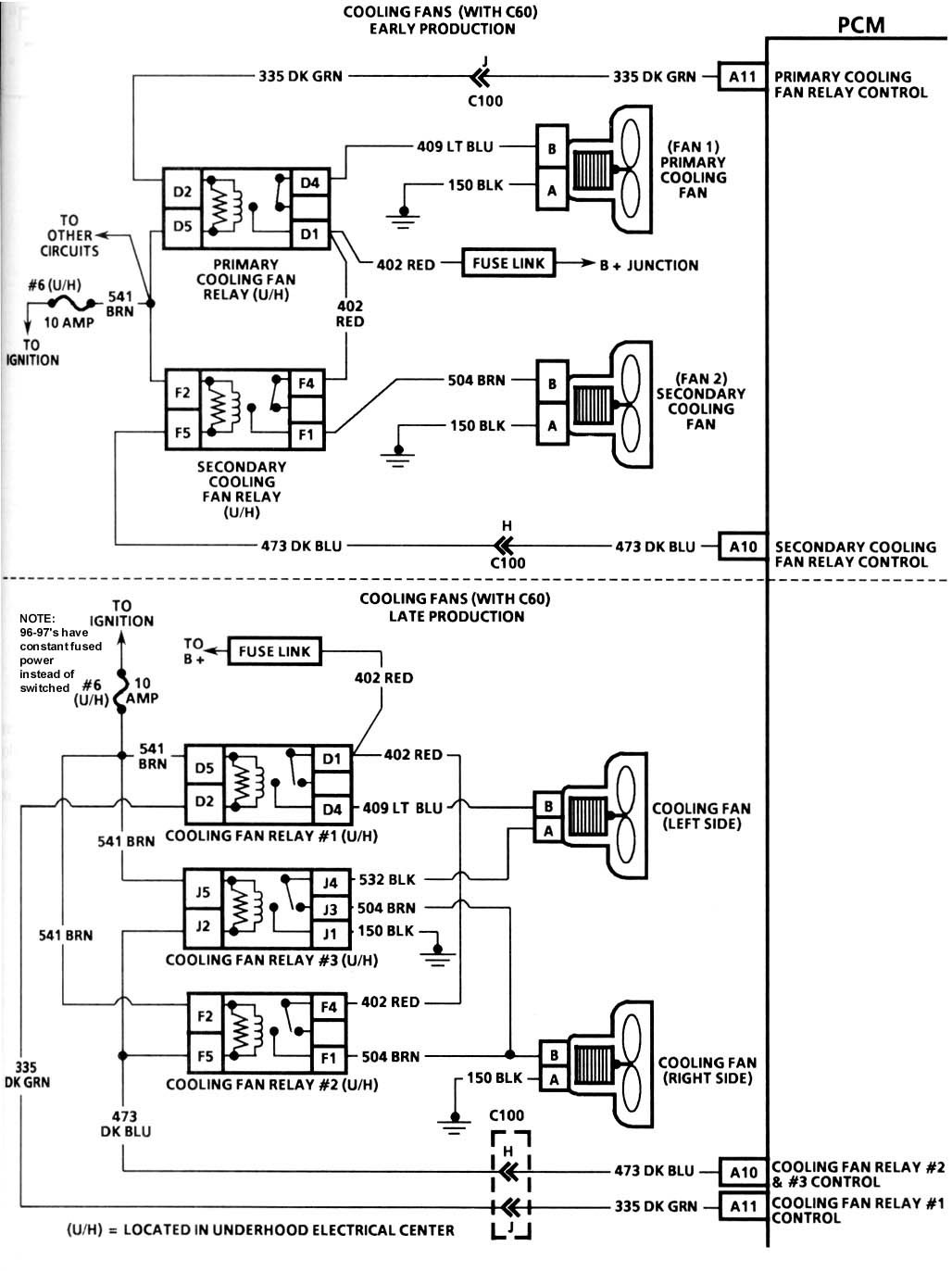 C4 and camaro sensor and relay switch locations and info