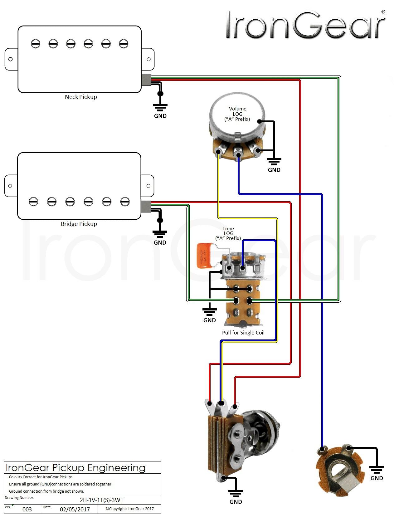 Guitar Wiring Diagram 2 Humbucker 1 Volume 1 Tone deltagenerali