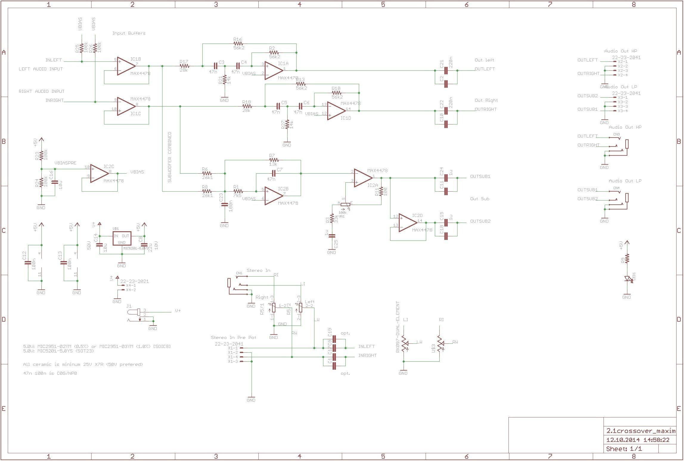 wiring lights in parallel Download Aktive Crossoverfrequenzweiche Mit Max4478 360customs Crossover Schematic Rev 0d wiring