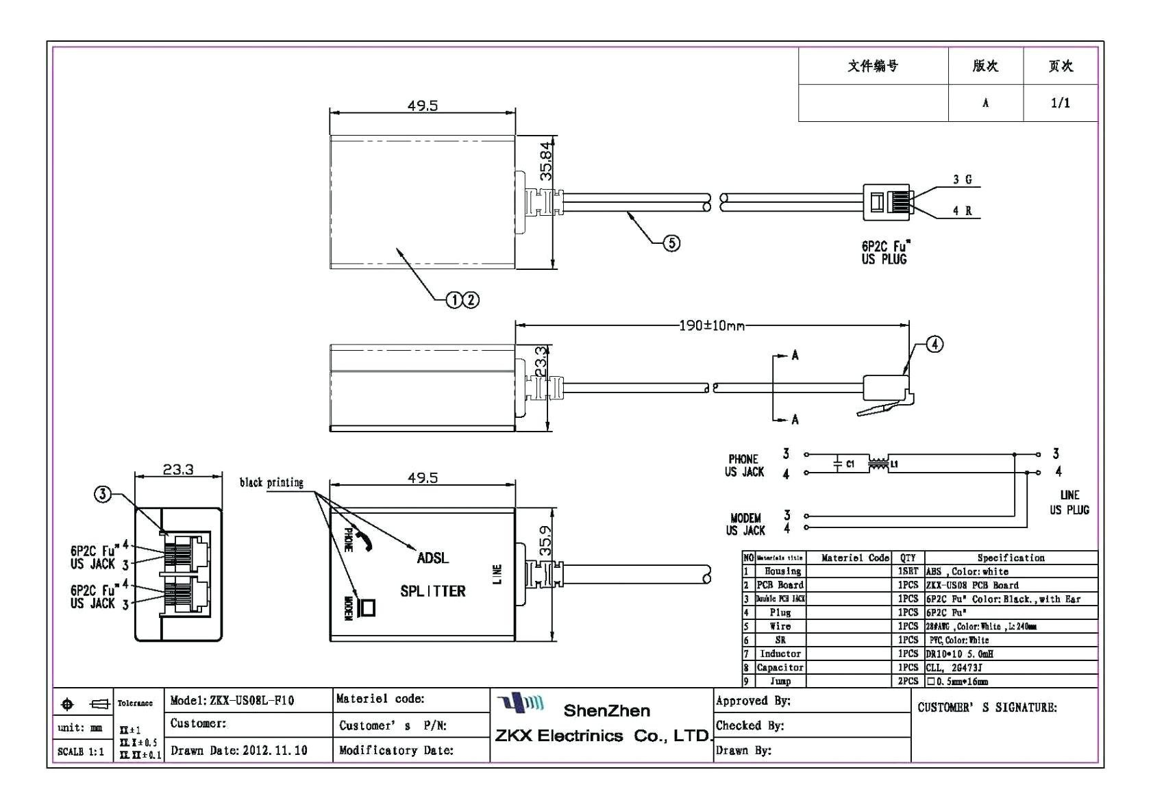 phone jack wiring diagram dsl inspirational