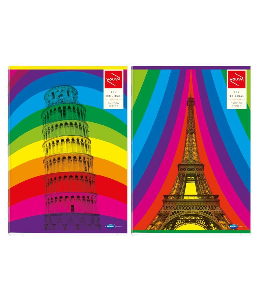 Youva Rainbow Long Book Soft Bound A4 Size 21 cm x 29 7 cm Single Line 172 pages