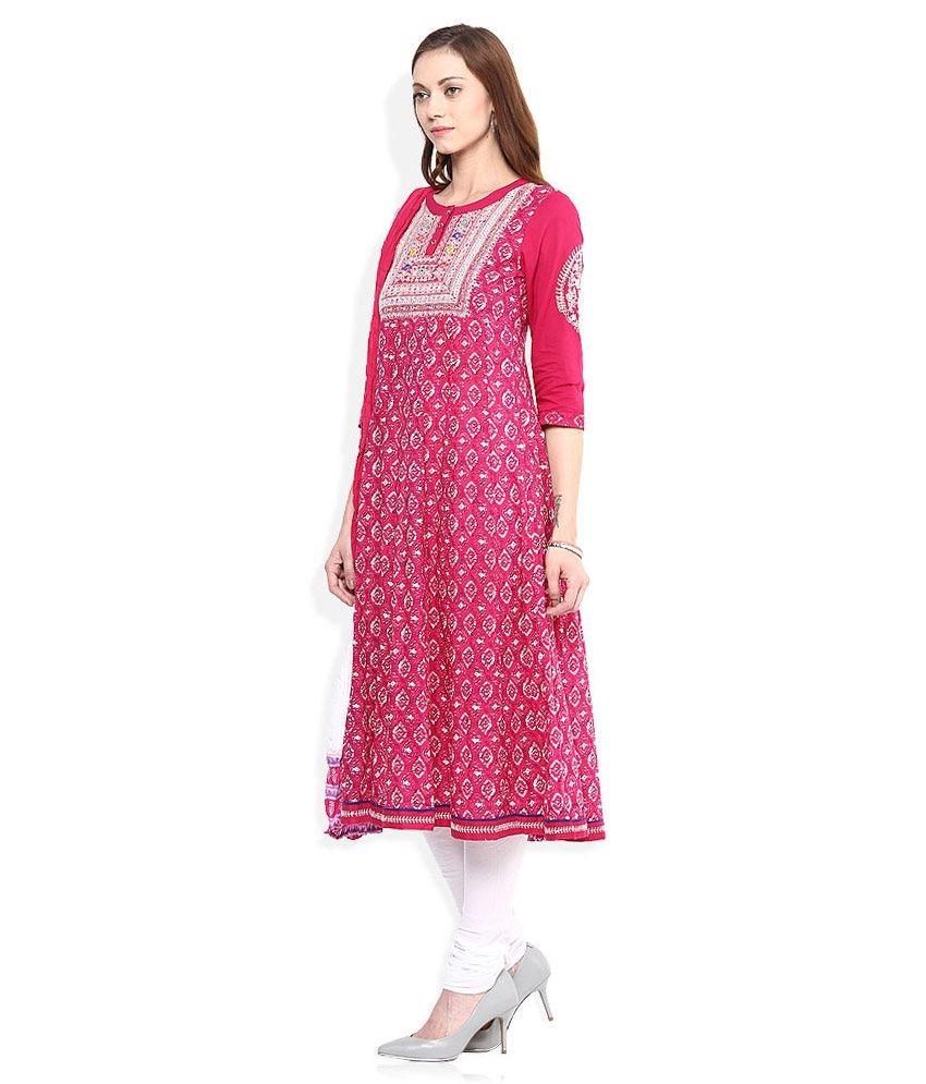 Rain & Rainbow Pink & White Churidar Anarkali Kurta With