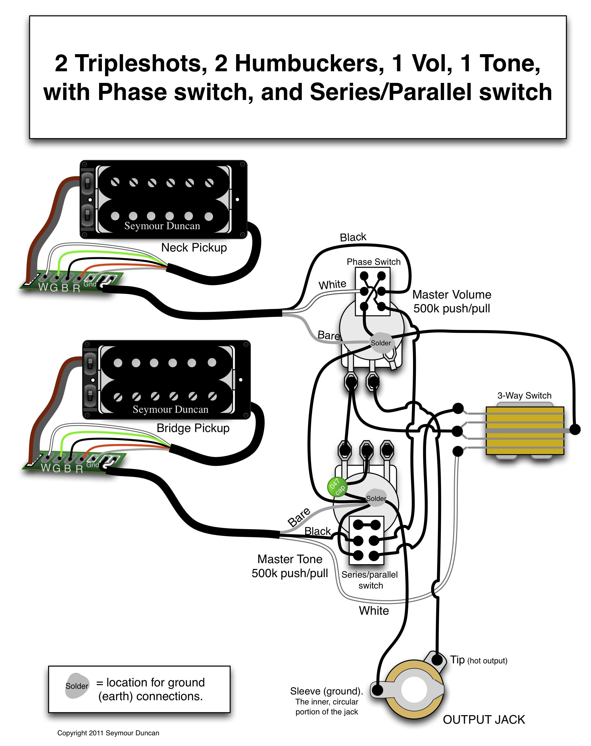 Wiring Diagrams Guitar Humbuckers Refrence Seymour Duncan Wiring Diagram 2 Triple Shots 2 Humbuckers 1 Vol