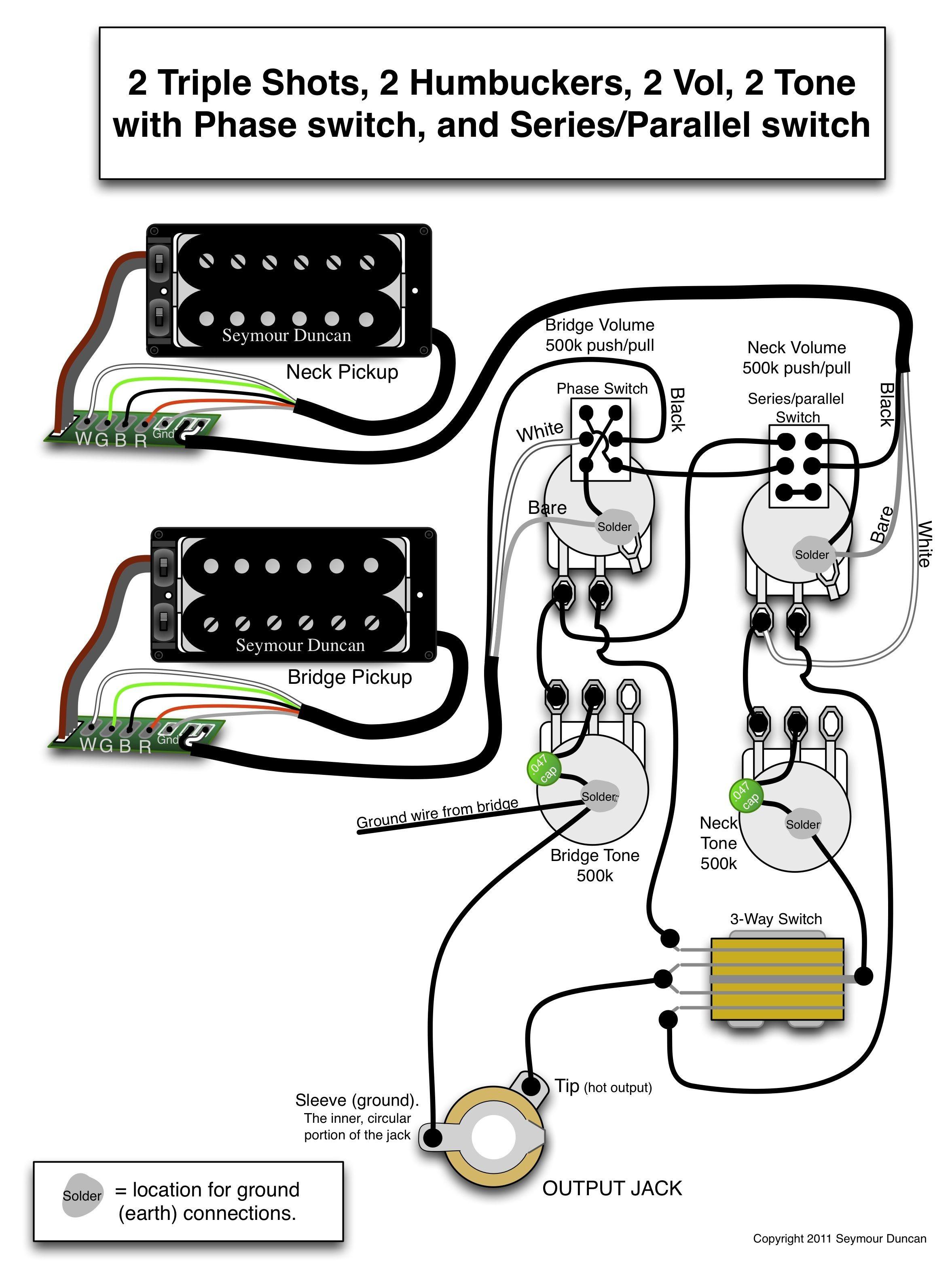 Guitar Volume Wiring Diagram Valid Seymour Duncan Wiring Diagram 2 Triple Shots 2 Humbuckers 2 Vol