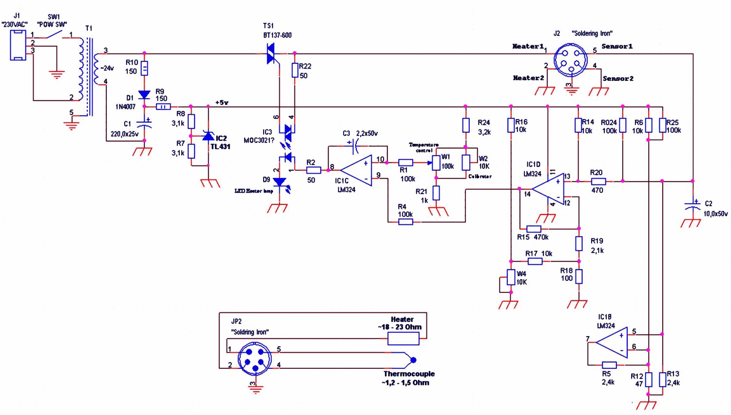 24V soldering iron Control circuit heat control to 450 degrees yihua hakko 936 schematic aoyue 936