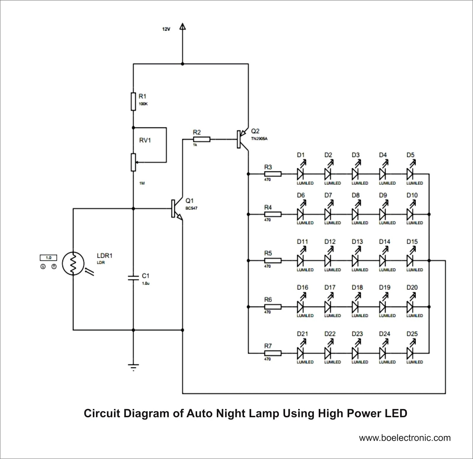Solar Street Light Circuit Diagram ponent Led Lamp Circuit 220v Light Operated Night Control